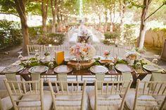 Dallas Garden Wedding - overall set up. lights.