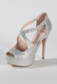 "High heel sparkle peep toe sandal features:• 1"" platform • 4.5"" heel• Zipper back closure• Padded insole• Medium width only"