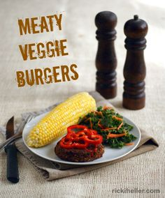 Meaty Veggie Burgers--all vegan, with a meaty taste, and great for the grill! Gluten-free, too.
