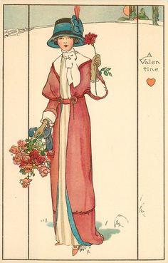 Una mujer cuelga VALENTINE rosas de la mano derecha y sostiene con la izquierda una