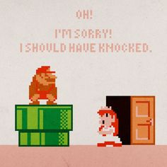 8bit mario and peach love.