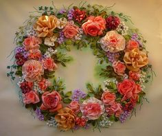 rose, ribbonwork, ribbons, silk ribbon embroidery, embroidery stitches