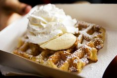Liege waffle topped with banana, speculoos spread, and whipped cream.  Recipe for Liege Waffles here: http://www.food.com/recipe/liege-waffles-belgian-pearl-sugar-waffles-158977