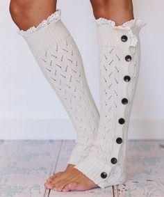Ivory Button Leg Warmers