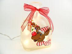 Reindeer Lighted Bottle Frosted Hand Painted
