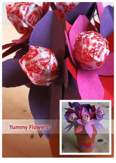 Help kids make a lollipop bouquet for a special friend or teacher! #crafts #Valentine's Day