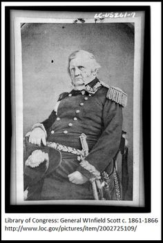 "A Civil War photo of Union Lieutenant General Winfield Scott. Credit: Library of Congress. Read more on the GenealogyBank blog: ""Civil War Genealogy: How to Find Union Soldier Uniform Clues."" http://blog.genealogybank.com/civil-war-genealogy-how-to-find-union-soldier-uniform-clues.html"