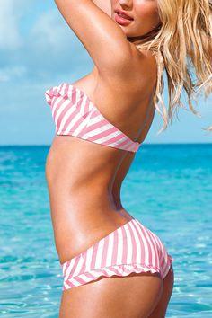 Striped Halterneck Bandeau Bikini