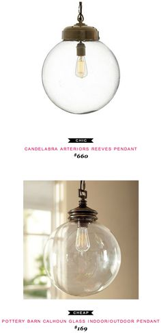 Candelabra Arterirors Reeves Pendant $660  -vs-  Pottery Barn Calhoun Glass Indoor/Outdoor Pendant $169