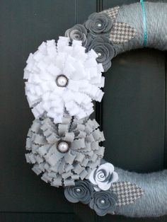 Winter Yarn Wreath: Grey and White Felt Flowers with Houndstooth leaves, Christmas Wreath. $42.00, via Etsy.