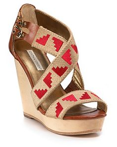 aztec red and tan wedges.