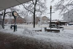 Harvard Square in the snow