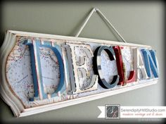 Custom nautical themed name plaque  made to by SerendipityHillShop, $105.00