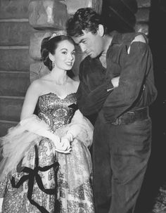 "Gregory Peck & Ann Blyth behind the scenes of ""The World in His Arms"" in 1951."