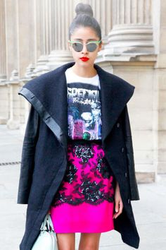 A vivid skirt and graphic T-shirt are pulled together by a neutral jacket #streetstyle