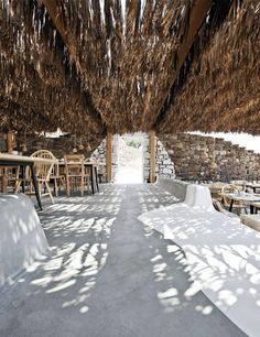 Alemagou is a bar and restaurant set beautifully on the sand of Ftelia Beach on the Greek island of Mykonos.