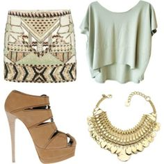 Switch heels with flats and swap the statement necklace for a simpler one. Also pur hair in messy bun to seem more casual. Keeping the same colors of course.
