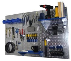 Pegboard Organizer Wall Control 4 ft. Metal Pegboard Standard Tool Storage Kit with Galvanized Toolboard and Blue Accessories by Wall Control, http://www.amazon.com/dp/B00BJK8KNO/ref=cm_sw_r_pi_dp_oD3jrb0395T4H