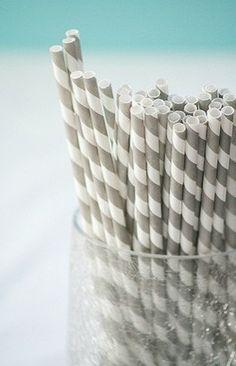 Straws: Silver + White