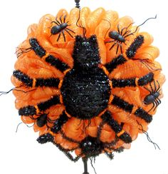 Sppoky Spider Wreath designed by Karen B., A.C. Moore Erie, PA #decomesh #wreath #halloween