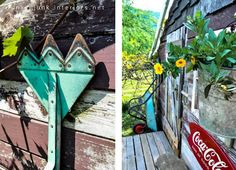 garden junk DIY salvaged rust garden art outdoors gardening decorating funky junk interiors shed yard clean up