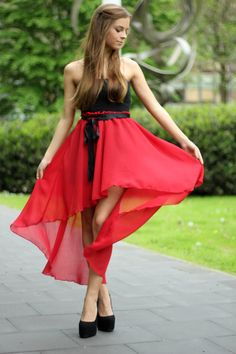 Red high low skirt