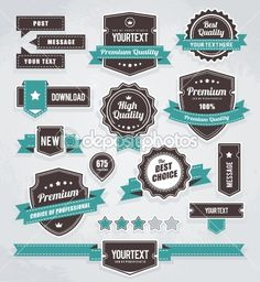 Vector set of retro labels, buttons and icons | Stock Vector © Sergey Kandakov #8505731