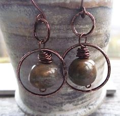 copper wire and bead earrings