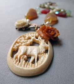 DEER in the GARDEN  vintage assemblage necklace by TheFrenchCircus, $155.00