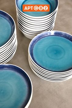 Summer just arrived at #APTCB2! These blue plates have added a much needed pop of color. #workswithCB2
