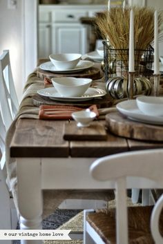 our vintage home love: Fall Dining Room vintage designs, table settings, dine room, fall table, kitchen tables, farmhouse table, new kitchens, vintage homes, vintage style