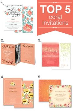 Top five coral wedding invitations   Keywords: #coralweddings #jevelweddingplanning Follow Us: www.jevelweddingplanning.com  www.facebook.com/jevelweddingplanning/