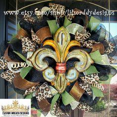 Fleur De Lis Wreath Ideas On Pinterest Wreaths Chevron