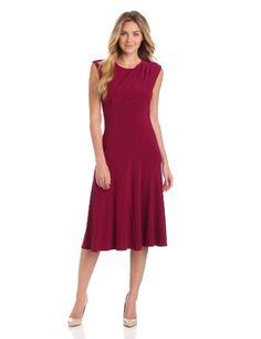 Gabby Skye Women's Solid Drape Front Dress
