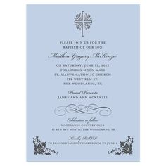 Cross with Ornate Corners Blue Baptism Invitation