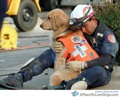 An exhausted hero rescue worker and his rescue dog after the 1995 bombing of the Alfred P. Murrah Federal building, in Oklahoma city