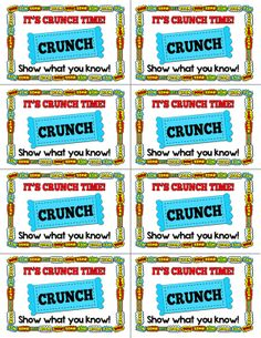 Candy treat labels and test prep materials for test time.