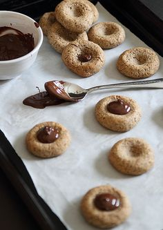 almond chocolate thumbprint cookies