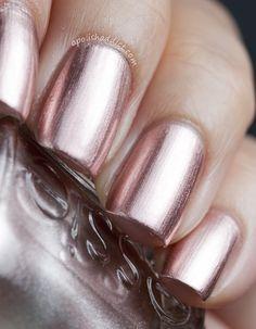 essie nail polish swatches, rose gold nails, penni talk, colors, essi nail, pennies, beauti, essi penni, essi polish