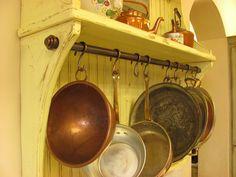 Copper Pot Rack & Hooks
