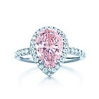 Tiffany & Co. | Item | Pear-shaped pink diamond ring in platinum with white diamonds. | United States