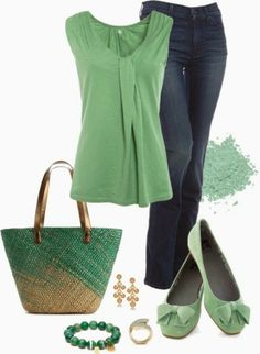 Love this color - and an interesting tank top. I would wear anything in this outfit,