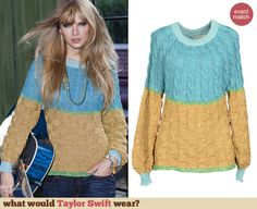 This sweater that Taylor wore for a photoshoot will set you back $950 but don't worry, I have found some cheaper alternatives: http://wwtaylorw.com/2708/