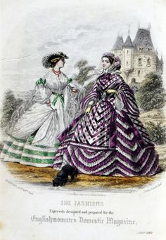Striped dresses from Englishwomean's Domestic, July 1860