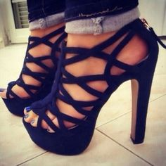 Shoes: blue blue high heels