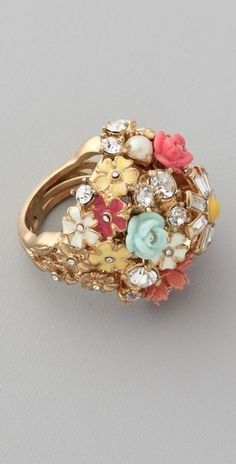 brooch bouquets, cluster ring, accessori, color, juicy couture