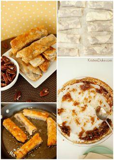 pecan pie egg rolls recipe #pecanpie #dessert