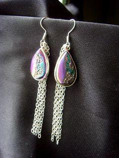 Titanium Druzy Earrings One of a Kind Metallic Earrings by NakiaDesign, $35.00