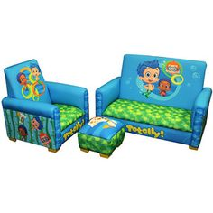 Nickelodeon Bubble Guppies Totally Guppies Toddler 3-Piece Sofa, Chair and Ottoman Set