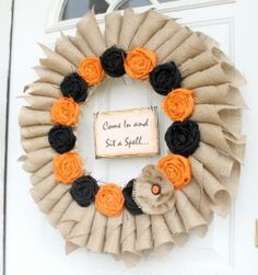 Tutorial: Rolled Burlap and Rosette Fall Wreath